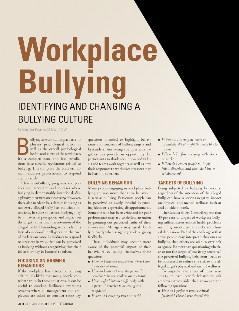 HR Professional Workplace Bullying