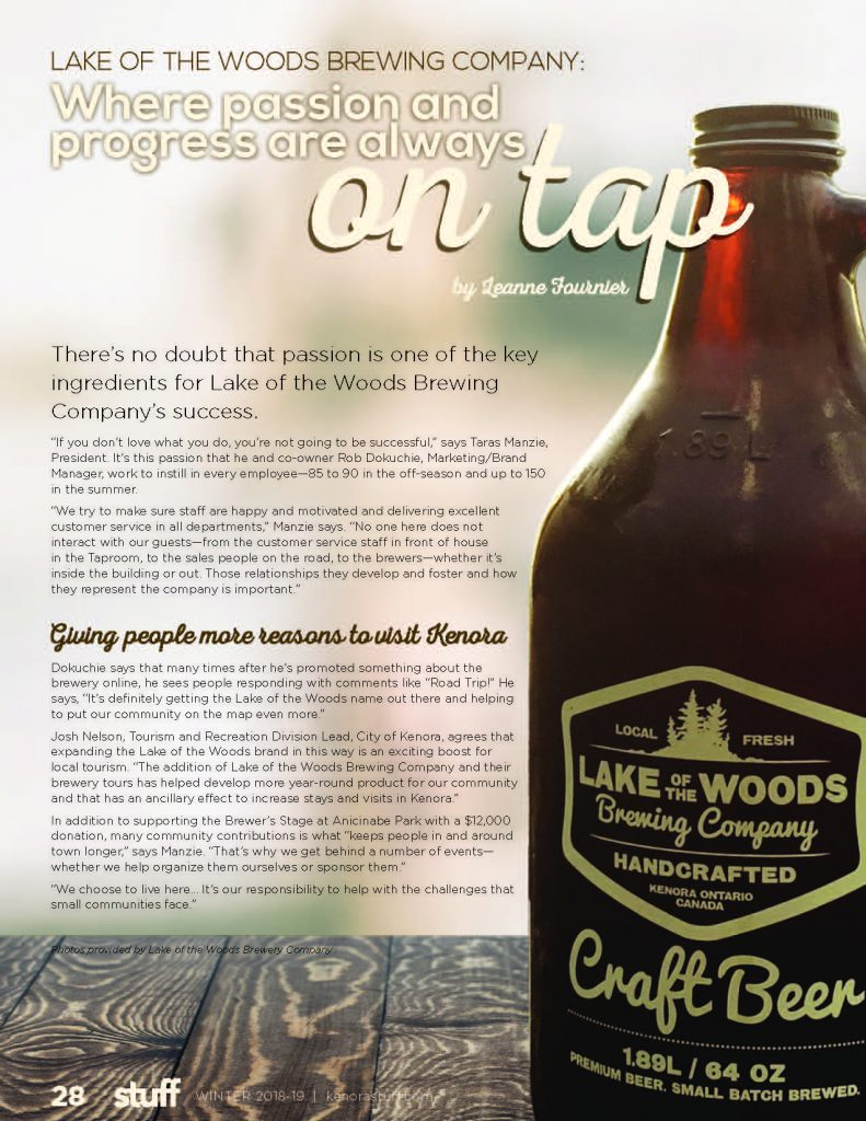 Lake of the Woods Brewery article in Kenora Stuff