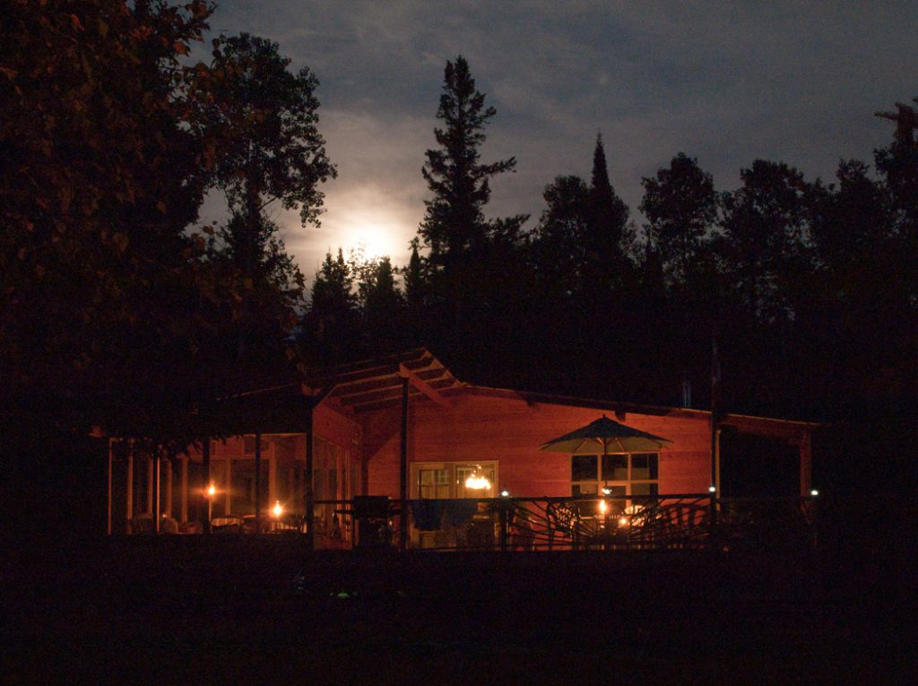 Cabin in the evening with soft lighting