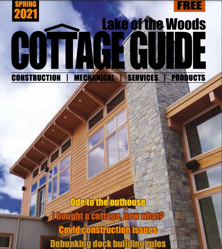 Cover of 2021 Lake of the Woods Cottage Guide showing a building