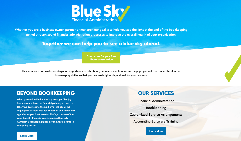 Blue Sky Financial web page