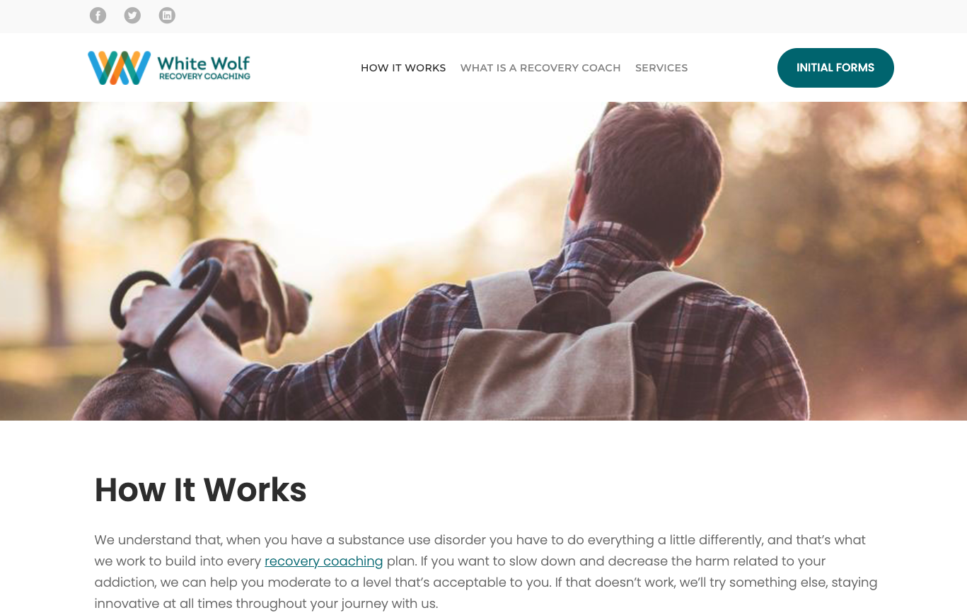 White Wolf Recovery web page screen